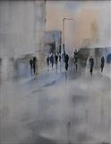 anonymous figures by Cornwall,City, Art by John Greig, Painting, Oil on Board